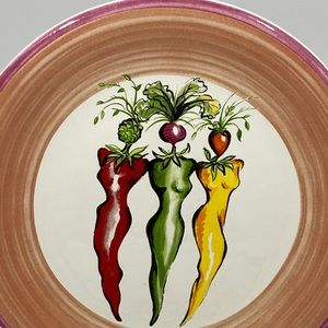 """Vegetable Ladies"" Ceramic Salad Plate-Hot Peppers"